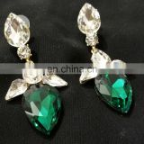 Tiny Droplet Gold Plated Party Wear Earrings Set In Green Color