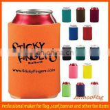 Orange collapsible Neoprene can cooler stubby holder