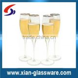 Promotional wholesale cheap high quality gold rimmed champagne glass/champagne flutes with gold rim/wine glass with gold rim