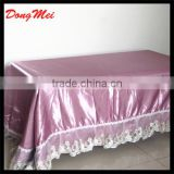 Elegant jacquard table cloth,table cloth with lacebian,satin fabric table cloth for banquet
