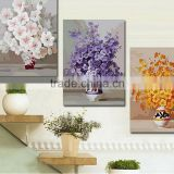 Same Design Diffenrent Colors Handmade Flower in Vase Oil Painting