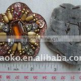 Flower Shape Fashion Style Bead & Rhinestone Sewing on Patch