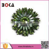 Wholesale Factory Price Vintage Green Crystal Snowflake Brooch