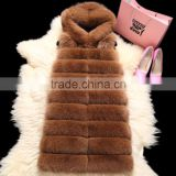 Factory direct fashion girl's fashion kahki fox fur vest