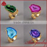 Fashion Vintage Ajustable Big Open Ring Golden Plated Druzy Geode Agate BOHO Stone Ring                                                                         Quality Choice
