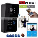 WIFI wireless video door phone access control system IOS Android App WIFI doorbell Mic IR camera remote control 720P recording