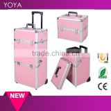 "38"" Pink 2 in1 Aluminum Rolling Makeup Train Case Lockable Wheeled Cosmetic Box                                                                         Quality Choice"