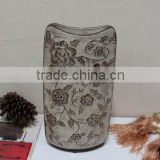 Hand painted flower ceramic vases and urns indoor