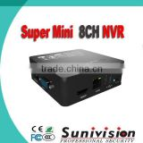 MINI NVR, 8CH, 8*1080P, 1*HDD(USB HDD, E-SATA HDD), USD*2, VGA*1, HDMI*1 SUPPORT I8S, P2P, Support Onvif; Third-party IP cameras