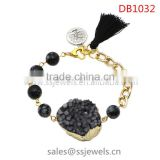 Fashionable Design Druzy Stone Tassl Tree Photo Charms Bracelets With Heart Shape Clasp Gold Chains Bracelet For Men's Jewelry