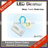 5Key Touch Plastic Shell LED Strip Dimmer Double Channel Single Color Of Output Parallel DC12V 24V