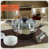 New Arrival 20/22cm 555 201 non-magnetic stainless steel stock pot with glass lid for kitchen brewing stockpot
