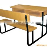 Wood Double School Desk and Bench Set