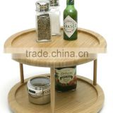 flavoring powders rack bamboo kitchen spice display stand storage rack 2-Tier 10-Inch Turntable spice rack