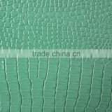 Green finished pvc leather for bags, wallets, furniture, decoration, artificial animal synthetic leather crocodile, sofa, purse
