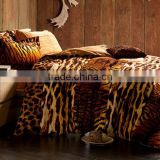 high quality brushed cotton tiger print thick bedsheet set