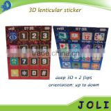 custom printing self-adhesive 3d motion PET lenticular sticker