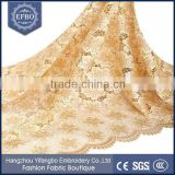 2016 latest guipure stone lace fabric champagne reliable supplier flower petterns wedding dress embroidery african lace fabrics