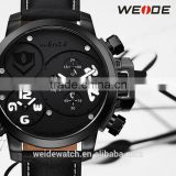 2014 WEIDE Top Luxury Brand Analog Date Stopwatch Leather Strap Watches Dual Time Men Quartz Sports Watch Water resistant 5 ATM