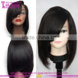 Alibaba lace wig China lace front wig indian remy hair 10inch 130% density side part lace front wig with bun