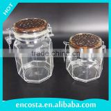 Coffee Bean Lid Plastic Airtight Clip Top Food Canister Spice Jam Herb Honey Candy Jars Set