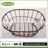 home store decoration iron craft oval wire net dry multifuction flower storage basket