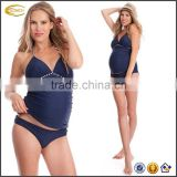 Ecoach wholesale Halter neckline with braided empire Lightly padded cups 2 Piece maternity sexy tankini swimsuits set