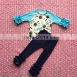 2017 new fashion baby Moana pattern raglan with baby demin icing ruffles pants baby boutique clothing
