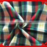 2015 latest Italy design pattern poly cotton green red check brushed twill heavy Flannel Dress Shirt fabrics