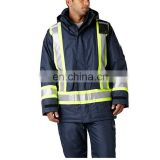 Nomex IIIA Aramid hi vis waterproof fire retardant zip hooded bomber jacket with 3M reflective tapes in workwear jackets