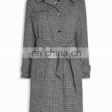 China Clothing Manufacturer Single-Breasted Overcoat Tartan Wholesale Woolen Women Winter Coat