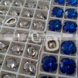 Capri Blue 18*18mm Square Shape Pointed Back Crystal Stones