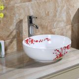 Wholesale above counter ceramic hand painted modern round basin in good sale