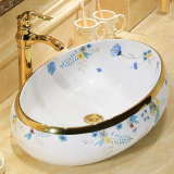 Hot selling bathroom tabletop golden hand painted ceramic oval wash art basin sink from chaozhou china manufacturer