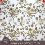 East fashion organza water soluble lace embroidery fabric on chiffon with gold thread for dress