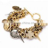 Wholesale gold bracelet coin punk spike bangle chain magnetic bracelets punk designer Stock Cheap Metal indian fashion jewelry