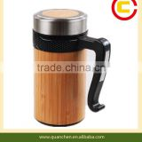 Bamboo water bottle with handle for office