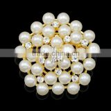 Fashion Hot style Chic elagant jewelry Fashion brooch simple brooch silver&gold pentagon pearl crystal rhinestone brooch pin