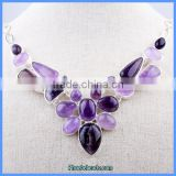 Wholesale Luxury Purple Color Amethyst Gemstone Diamond Necklaces GN-N004
