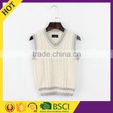Causal style hand knitted plain white baby cashmere vest