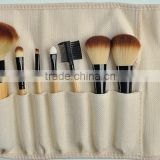 bamboo handle 7 piece fiber hair make up brush set with pouch
