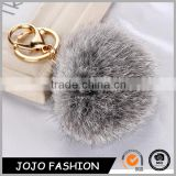 Professional factory sell directly custom high quality cheap rabbit fur ball pom pom keychain