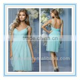 2014 New Style Sweetheart Neckline Double Spaghetti Strap Gathered Waistband Turquoise Blue Bridesmaid Dresses (BDWA-4009)