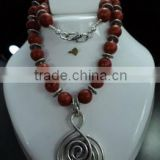 Red Coral German Silver Necklace