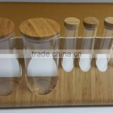 Bent wood 6pcs glass jars Container Shelf with bamboo veneer