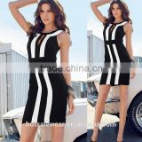 Wholesale Black White Striped Bodycon Dress Graceful Hollow Out Casual Dress O-Neck Midi Dress CA-C08