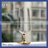 SH-Glassware manufacturer top drawer handmade lead free clear crystal beer glass mug gold rim drinking gold wine glass