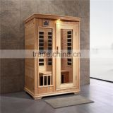 Wood sauna steam room/infrared corner sauna room for 2 persons