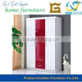 Popular Colorful Modern Design Bedroom Furniture three door closet, wooden cheap wardrobe
