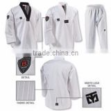 hot sale V neck white/red color taekwondo uniform with custom embroidery logo Paypal accepted